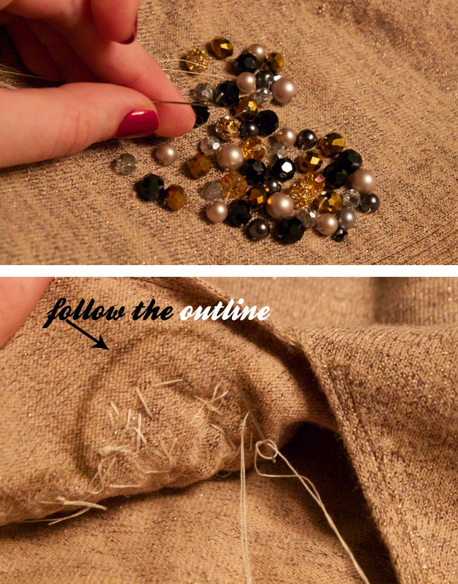 Вышивка бисером шапки-пришейте крупные бусины