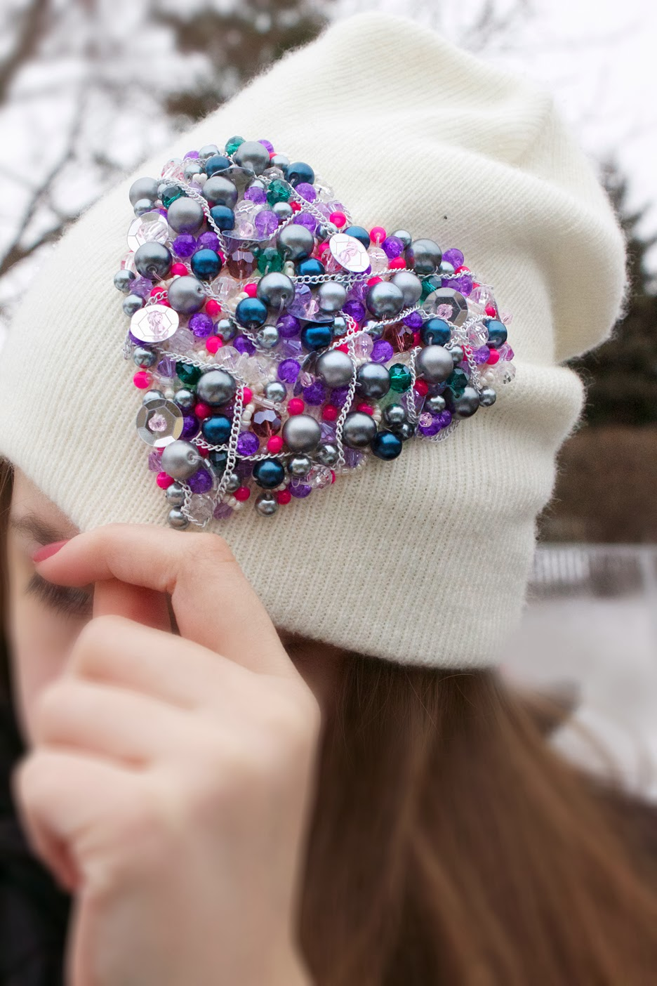 Вышивка бисером шапки