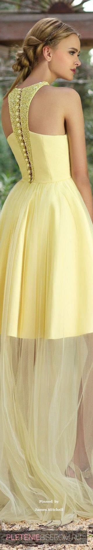 Желтое платье с бисерными вставками