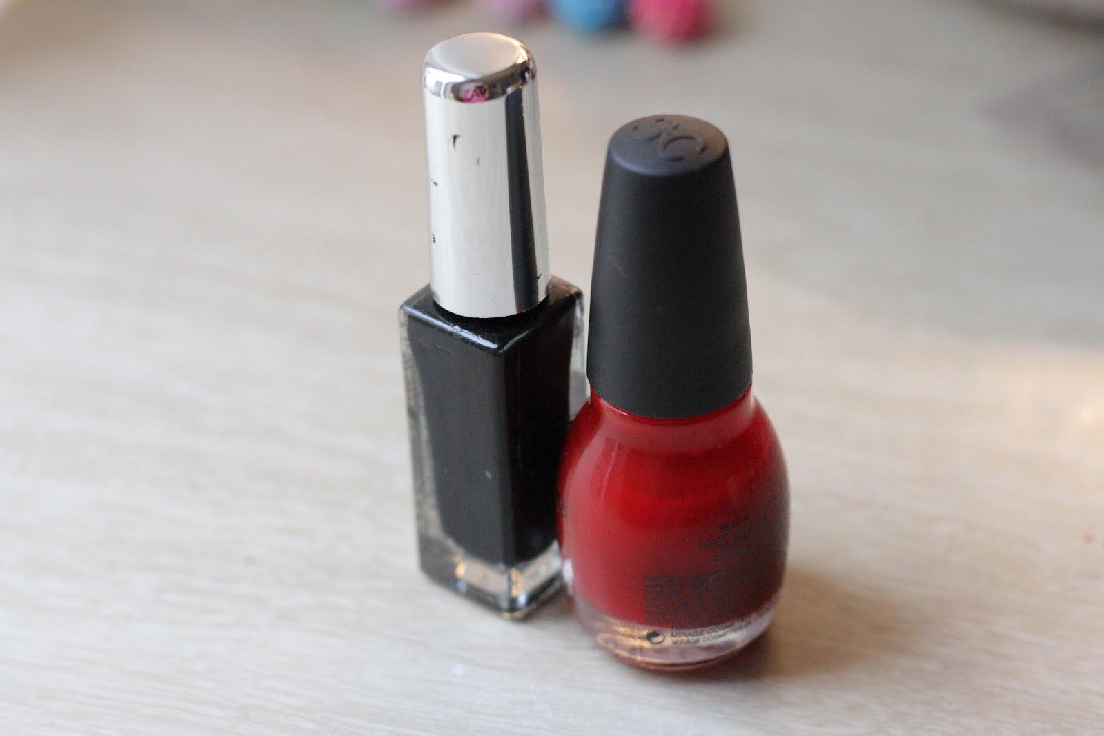 Колье с бусинами из бисера-красный и черный лаки