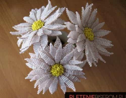 Плетение ромашки параллельным плетением