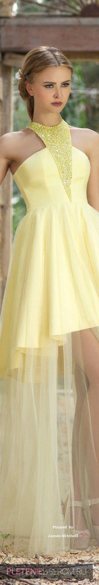 Желтое платье с вставками из бисера