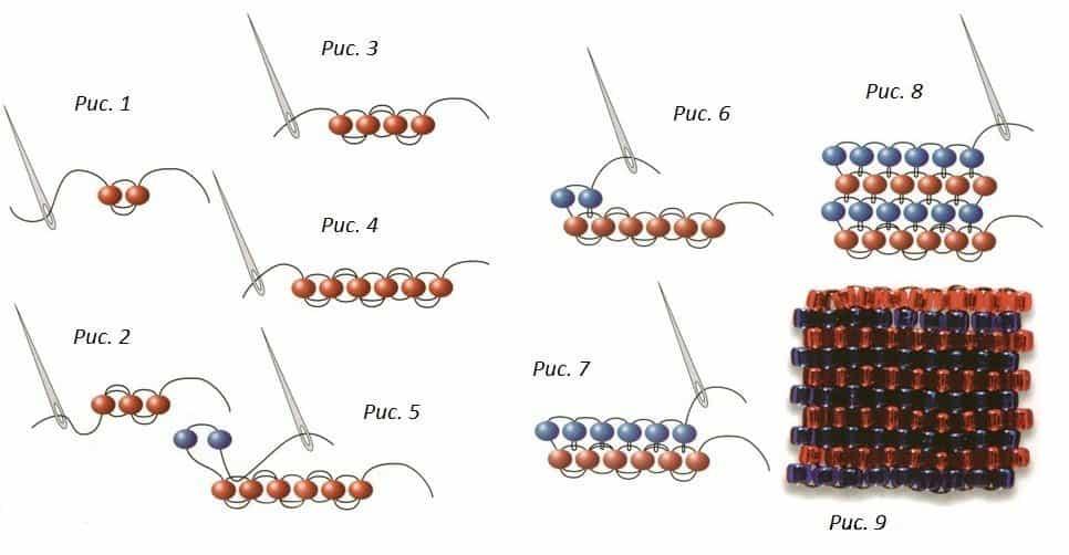Схемы для кирпичного плетения бисером для начинающих